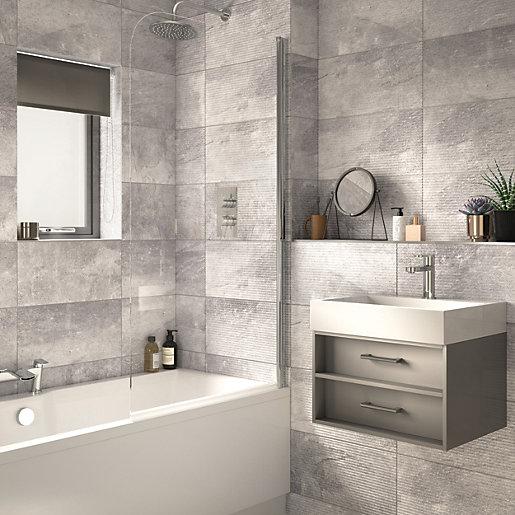 wickes manhattan light grey ceramic wall tile 500 x 250mm