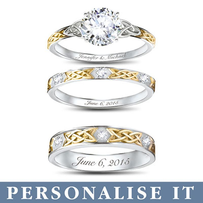 Irish Trinity Knot His Amp Hers Personalised Wedding Ring Set