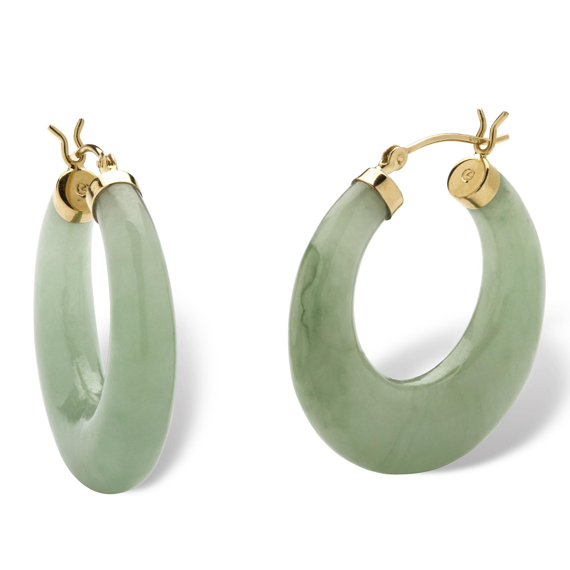 Palmbeach Jewelry Jade 14k Yellow Gold Hoop Earrings