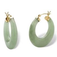Palmbeach Jewelry Jade 14k Yellow Gold Hoop Earrings | eBay