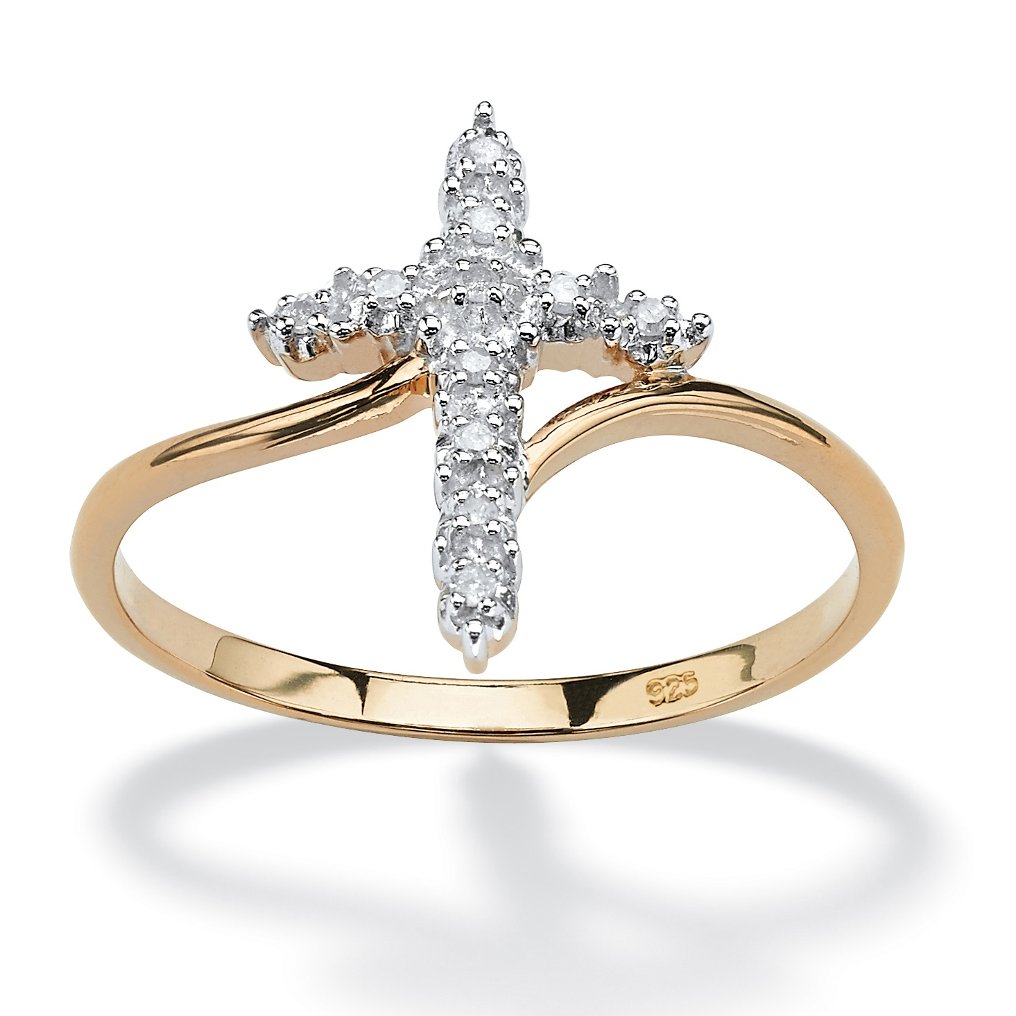 Palmbeach Jewelry Diamond 18K Yellow Gold Over 925