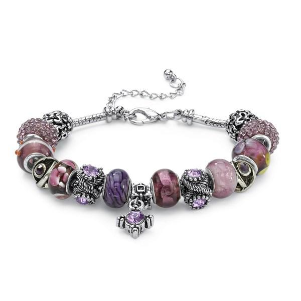 Palmbeach Jewelry Purple Crystal Silvertone Bali-style