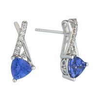 Le Vian 14ct Vanilla Gold Tanzanite & Diamond stud ...