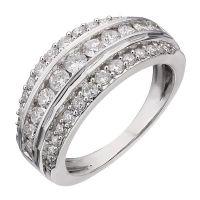 18ct white gold one carat diamond three row ring - Ernest ...