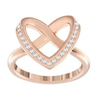 Swarovski rose gold-plated heart crossover ring size N ...