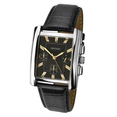 Sekonda Mens Rectangular Dial Black Leather Strap Watch