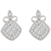 9ct White Gold 0.15 Carat Diamond Princessa Stud Earrings