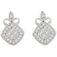 9ct White Gold 0.15 Carat Diamond Princessa Stud Earrings ...