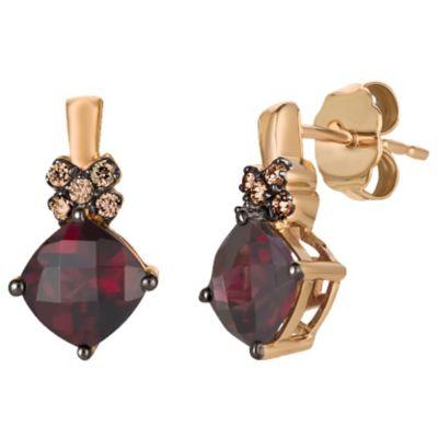 Le Vian 14ct Rose Gold Rhodolite Garnet & Diamond Earrings