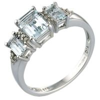9ct White Gold Diamond and Aquamarine Ring | H.Samuel