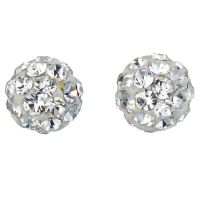 9ct White Gold Crystal Ball Stud Earrings 4mm