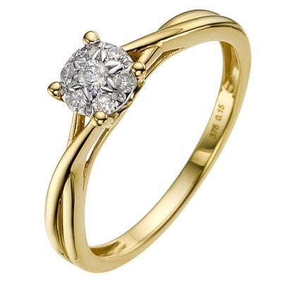 9ct gold 015 carat diamond cluster ring  Ernest Jones