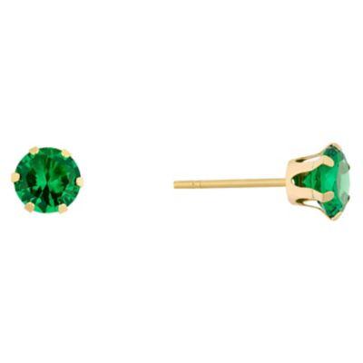 9ct Yellow Gold Created Emerald Stud Earrings HSamuel