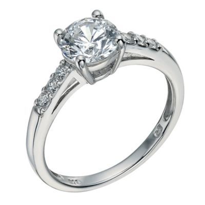 Silver cubic zirconia solitaire ring  Ernest Jones
