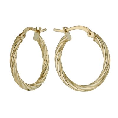 Together Silver Amp 9ct Yellow Gold Twist Creole Earrings