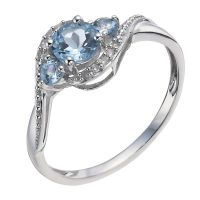 9ct White Gold Aquamarine & Diamond Ring | H.Samuel