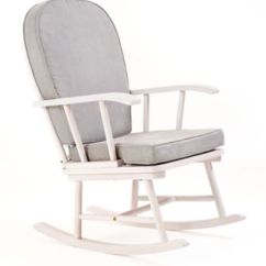What Is A Rocking Chair Seat Warmer For Office Nursing Chairs Mothercare With Grey Cushion White