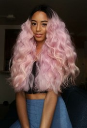 curly hair dyed tips long