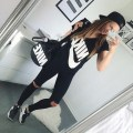Black black and white nike outfit outfits white
