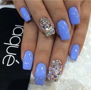 blue goals nails pretty