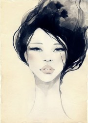 beautiful drawing black hair