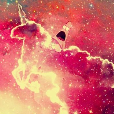 Cute Patrick Star Wallpaper Clouds Galaxy Patrick Pink Image 745277 On Favim Com