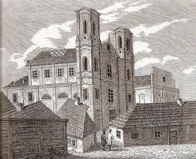 Літографія із зображенням костелу єзуїтського монастиря (1724) у Житомирі, нині зруйнованого