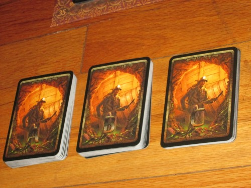 Each game has three rounds of A cards, two rounds of B cards, and one round of C cards. With the exception of round C, players will not see every card.