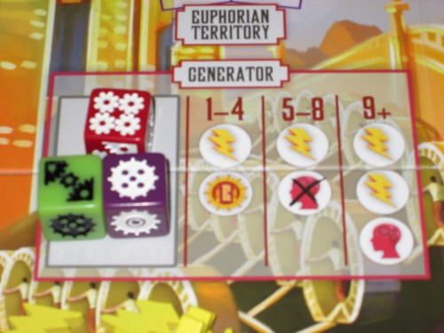 Players can work together to gather more resources in the resource area. The dynamics here are one advantage to having dice represent workers.