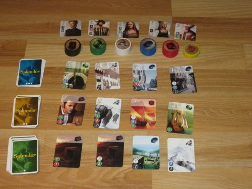 Splendor set up for four players. That is a nice looking array.