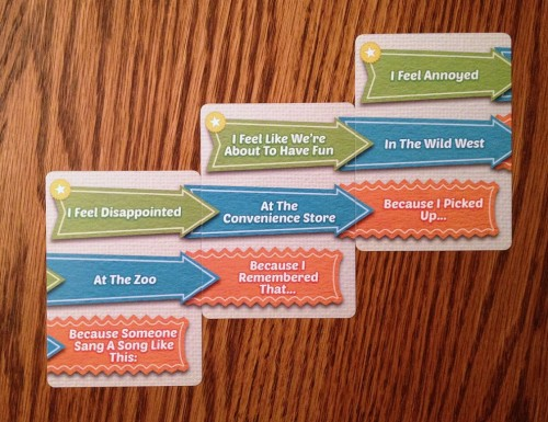 Staggered phrase cards read across to form the bulk of your silly, odd, or sometimes outright bizarre sentence!