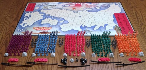A sprawling board with enough plastic soldiers to fill it. Funny, it's a map of Japan, but I've a feeling it's Ameritrash!