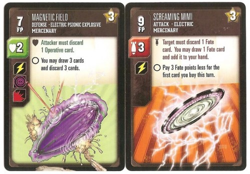 Upgraded defense (left) and attack (right) cards from the mercenary decks.