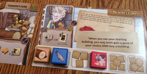 Inventory of goods on your personal player board/starting building.