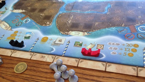 Around the rondel. The red boat moves normally and only applies to affects on certain special buildings.