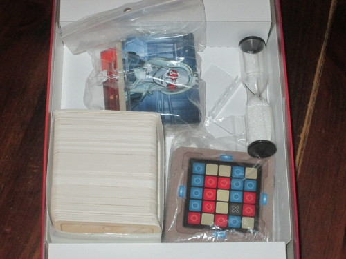 All of the components for Codenames. Despite the sparseness of the components, there is a ton of fun in this box.
