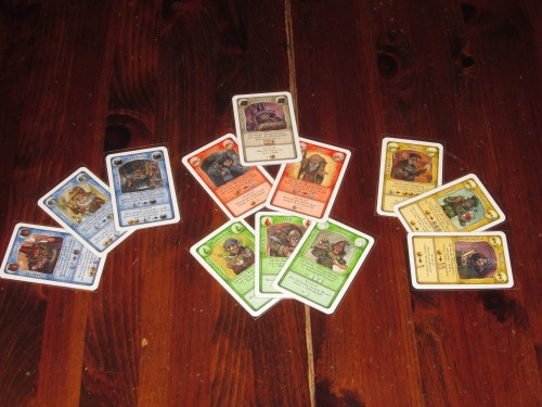 Each player begins each round with the same twelve-card hand. Cards are color coded, so it's easy to tell what each set does.