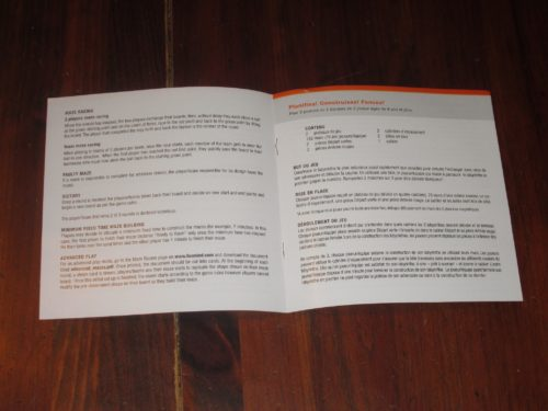 The rules are in English and French and are two short pages. It's a very simple game to teach and play.