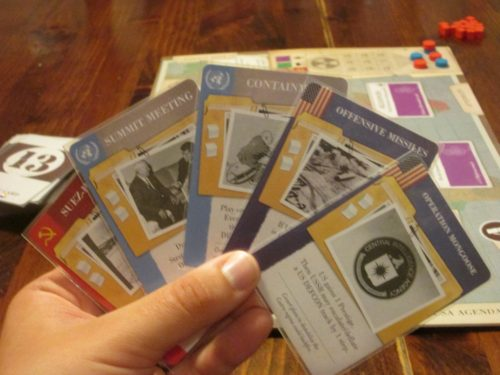 A sample hand of strategy cards. You have to work with what you're dealt.