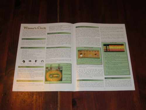 The rules are a single spread and are super easy to explain, especially since horse racing is something most people are at least in some ways familiar with. How refreshing!