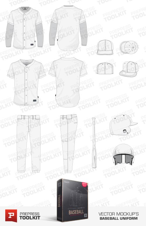 Baseball Uniform Vector mockup template pack