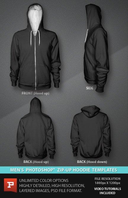 Black Hoodie Template : black, hoodie, template, Hoodie, Mockup, Digital, Clothing, Mockups, PrePress, Toolkit
