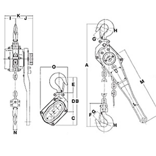 Jet 110242 1-1/2 Ton 5' Lift #10 Series Cast Lever Chain