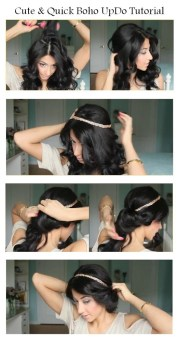 diy cute and quick boho updo hairstyle