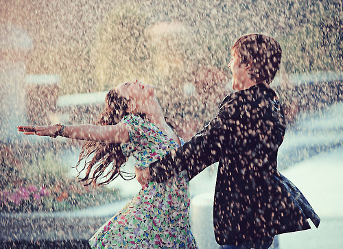boy, couple, cute, dancing, girl, love, rain, snow, boy & girl