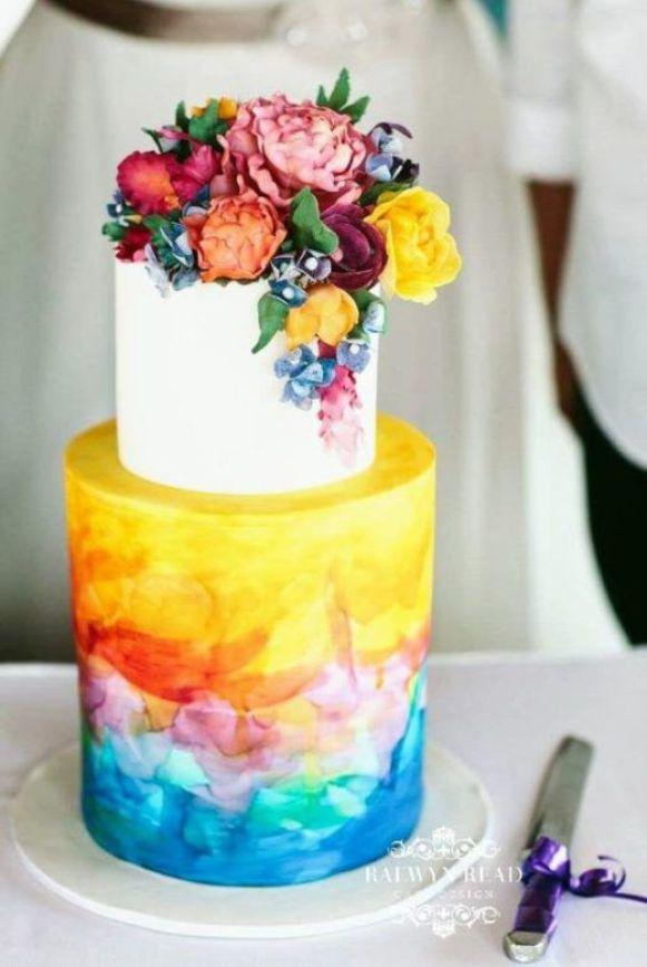 watercolor flower cake