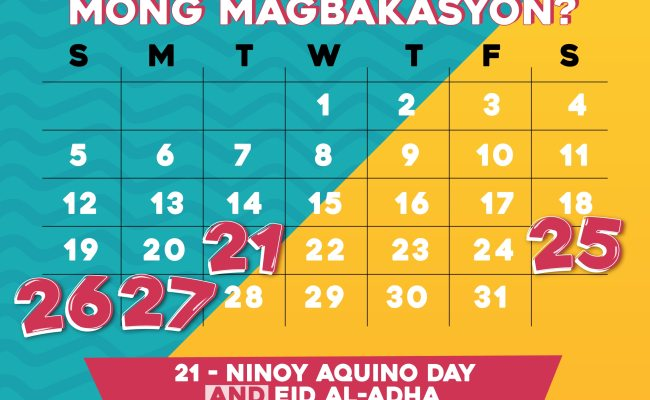 Plan Ahead Long Weekend Holidays This August Abs Cbn News