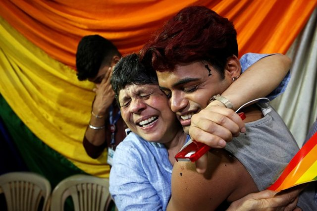 People Belonging To The Lesbian Gay Bisexual And Transgender Lgbt Community Celebrate After The Supreme Courts Verdict Of Decriminalizing Gay Sex And