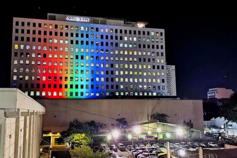 ABS-CBN's ELJ building shines in red, green, blue