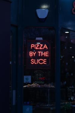 pizza by the slice window sign key design components